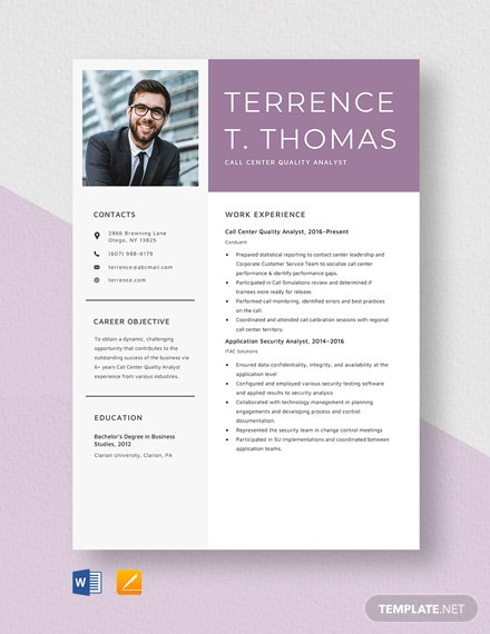 Call Center Quality Analyst Resume Template