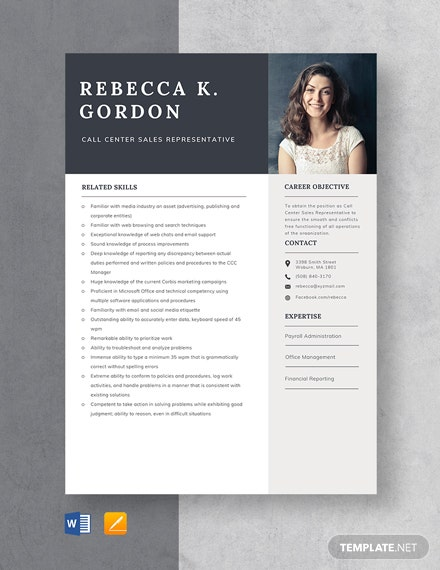 Call Center Sales Representative Resume Template