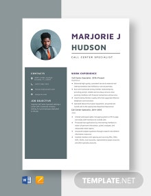Call Center Specialist Resume Template