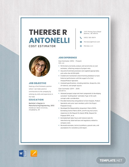 Cost Estimator Resume Template
