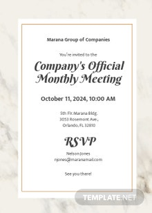 Free Official Meeting Invitation Template