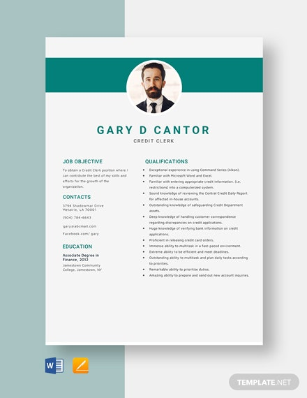 Credit Clerk Resume Template