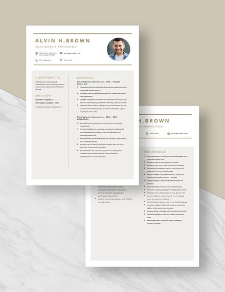 Cisco Network Administrator Resume Download