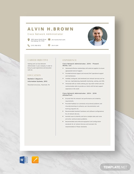 Cisco Network Administrator Resume Template