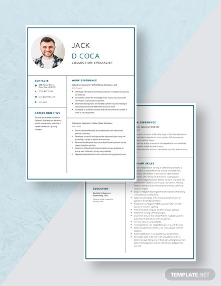 Collection Specialist Resume Download