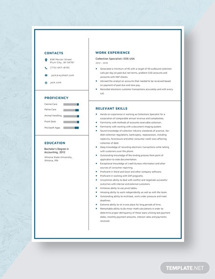 Collection Specialist Resume Template