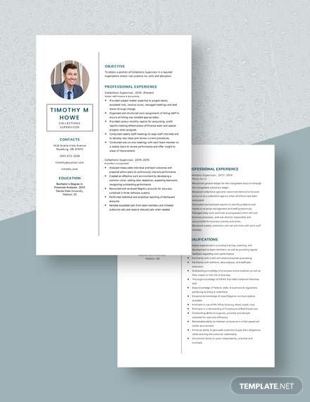Collections Supervisor Resume Download