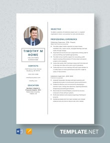 Collections Supervisor Resume Template