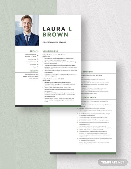 College Academic Advisor Resume Download