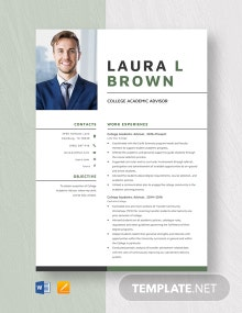 College Academic Advisor Resume Template