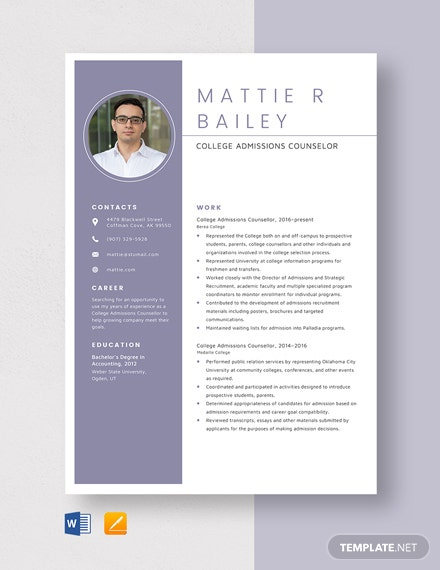 Resume college admissions counselor
