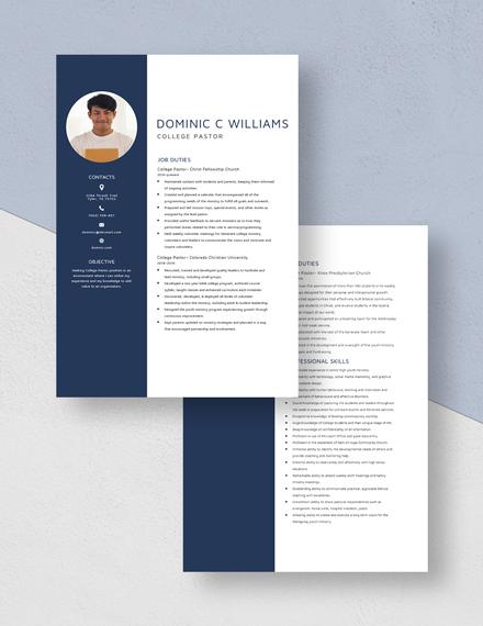 College Pastor Resume Download