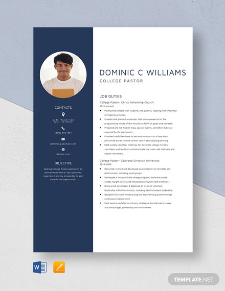 College Pastor Resume Template