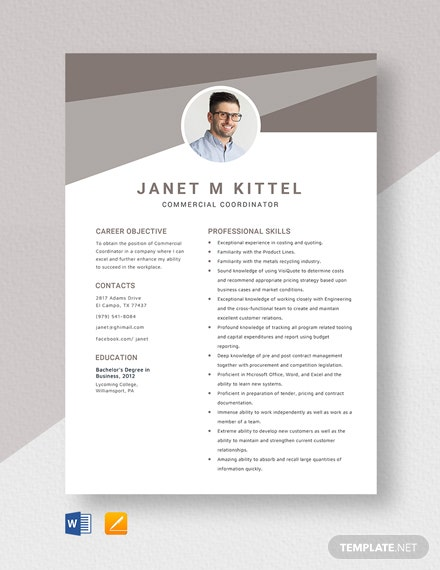 Commercial Coordinator Resume Template