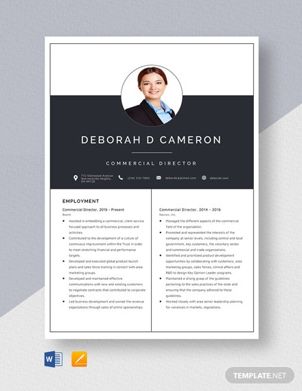 Commercial Director  Resume