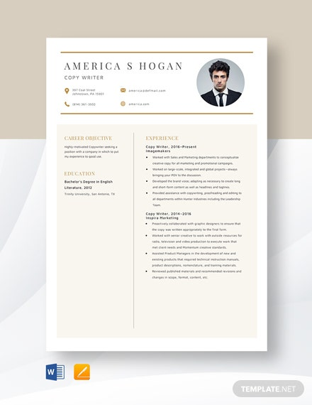 Copywriter Resume Template