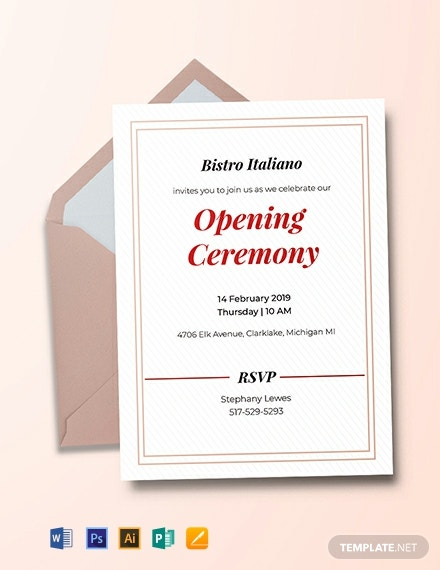 Free Opening Ceremony Invitation Card Template Word Psd