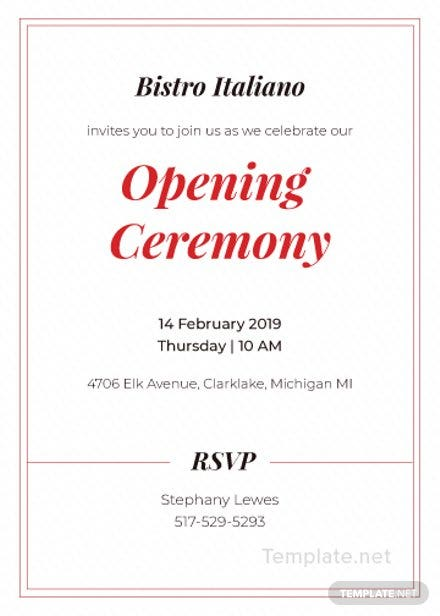 Opening Ceremony Invitation Card Template