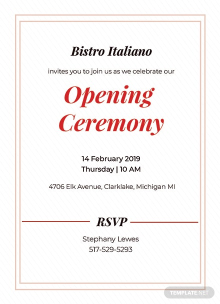 opening ceremony invitation card template  download 344