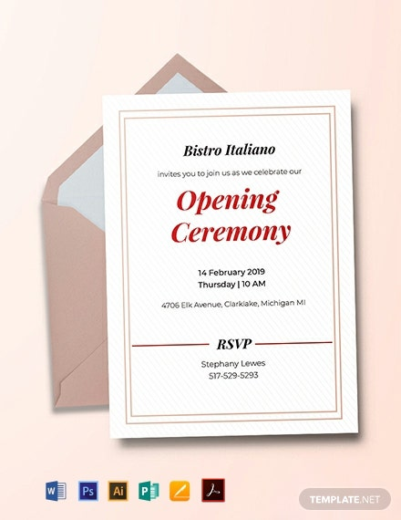 Free Opening Ceremony Invitation Card Template