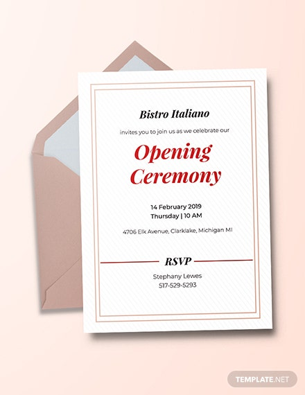 Free Opening Ceremony Invitation Card Template Download 537