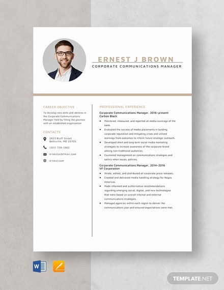 Corporate Communications Manager Resume Template