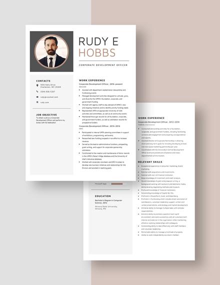 Corporate Development Officer Download