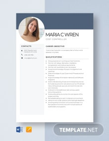 Cost Controller Resume Template