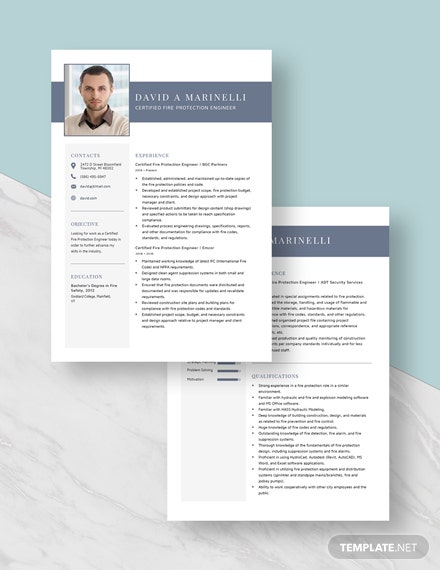 Certified Fire Protection Engineer Resume  Download