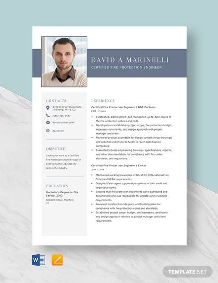 Certified Fire Protection Engineer Resume Template