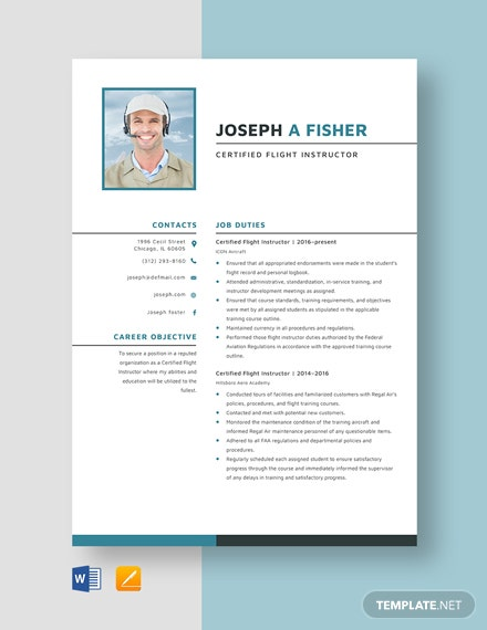 Certified Flight Instructor Resume Template