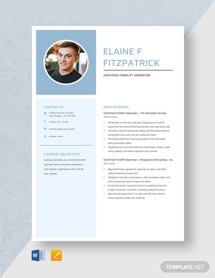Certified Forklift Operator Resume Template