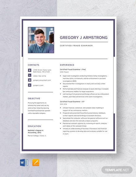 Certified Fraud Examiner Resume Template