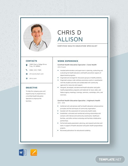 Certified Health Education Specialist Resume Template