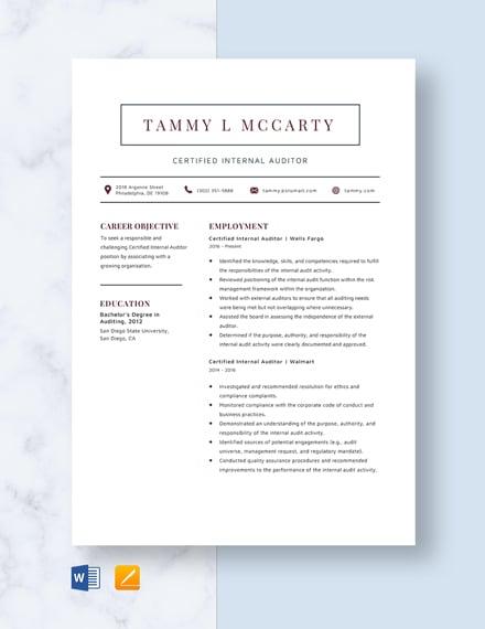 Certified Internal Auditor Resume Template
