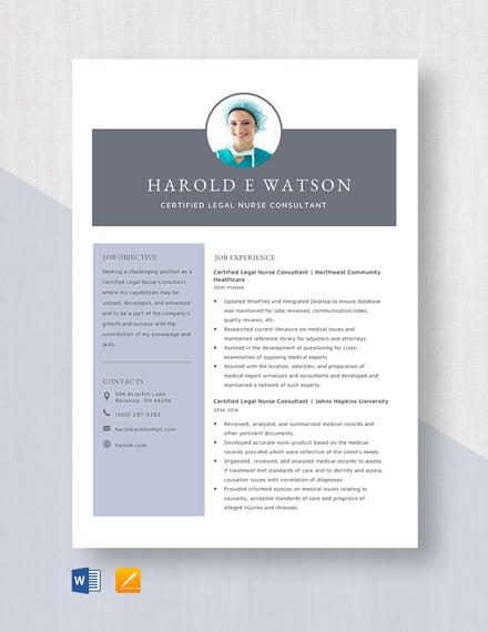 Certified Legal Nurse Consultant Resume