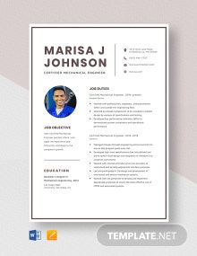 Certified Mechanical Engineer Resume Template