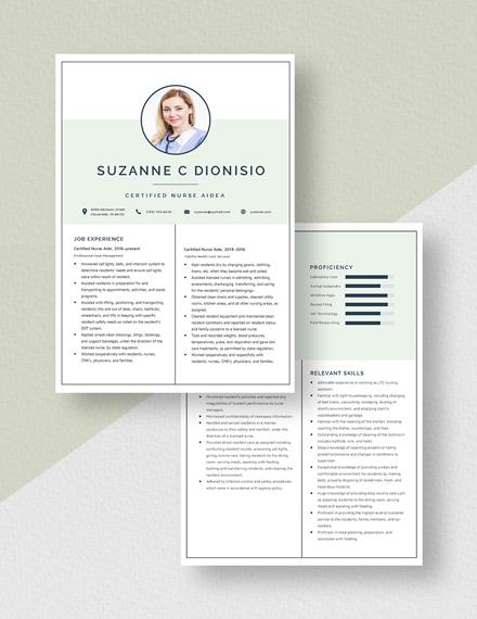 Certified Nurse Aide Resume  Download
