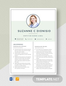 Certified Nurse Aide Resume Template