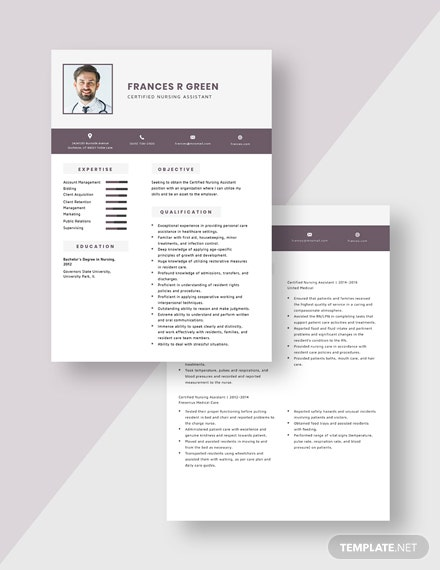 Certified Nursing Assistant Resume  Download