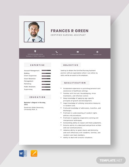 Certified Nursing Assistant Resume Template