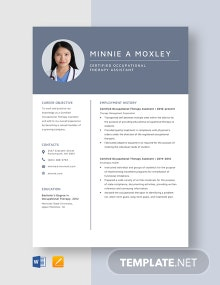 Certified Occupational Therapy Assistant Resume Template
