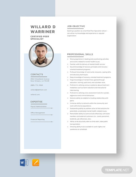 Certified Peer Specialist Resume Template