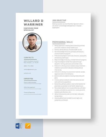 Certified Peer Specialist Resume Template