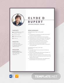 Certified Personal Trainer Resume Template