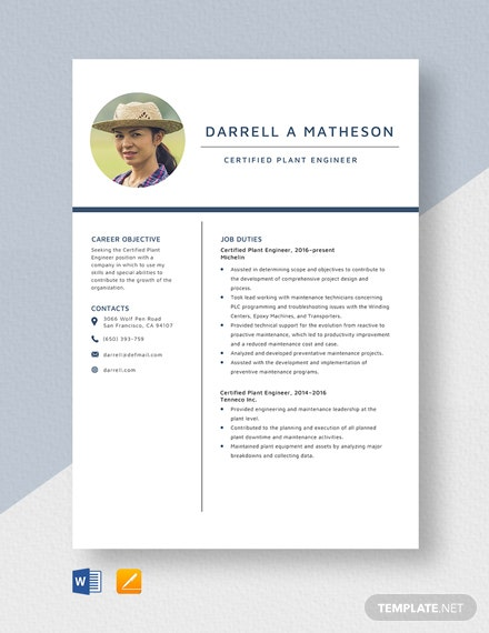Certified Plant Engineer Resume Template