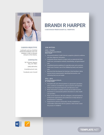 Certified Professional Midwife Resume Template