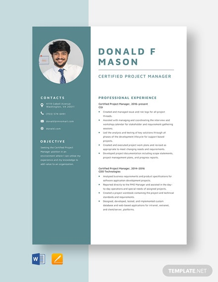 Certified Project Manager Resume Template