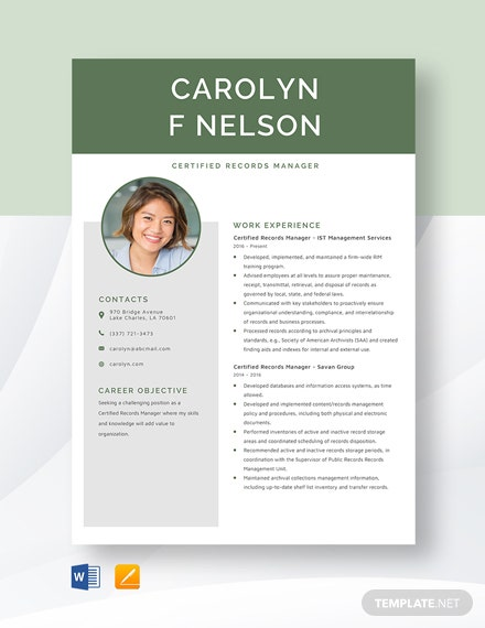 Certified Records Manager Resume Template