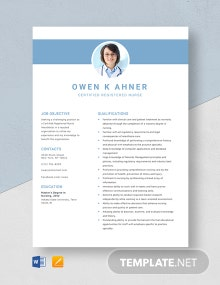 Certified Registered Nurse Anesthetist Resume Template
